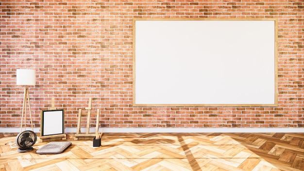 Wohnzimmer mit backsteinmauer und whiteboard
