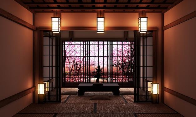 Wohnzimmer mit bonsai baum und niedrigen tisch auf tatami-matte und fenster ansicht sakura-baum.