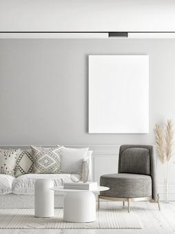 Wohnzimmer mit einem leeren plakat an der wand 3d illustration 3d rendern