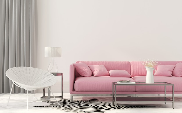 Wohnzimmer mit einem rosa sofa
