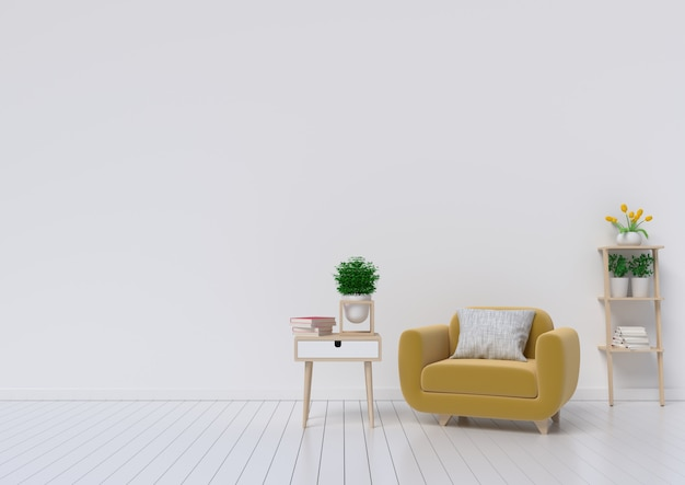 Wohnzimmer mit gelbem gewebesessel, buch und anlagen auf leerem weißem wandhintergrund.