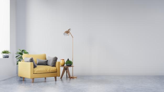 Wohnzimmer mit gelbem gewebesessel, -buch und -anlagen auf leerer weißer wand.