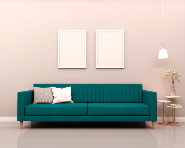 Wohnzimmer mit grauen wand grünen sofakissen pflanzen beistelltisch mit dekorationen anstehenden blumen whiteboard und anhänger