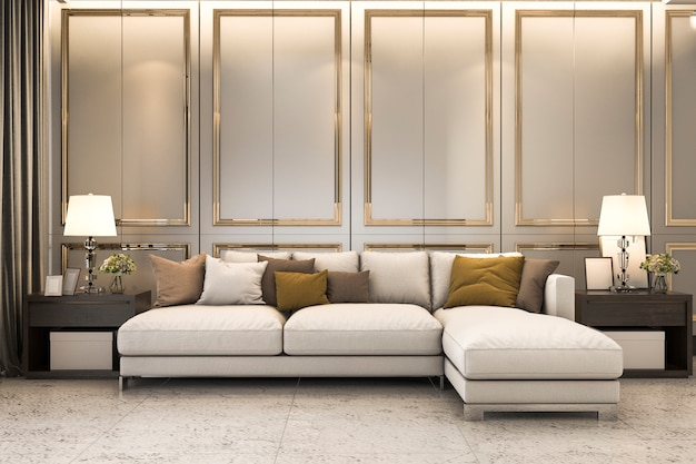 Wohnzimmer mit großem sofa und goldener dekoration