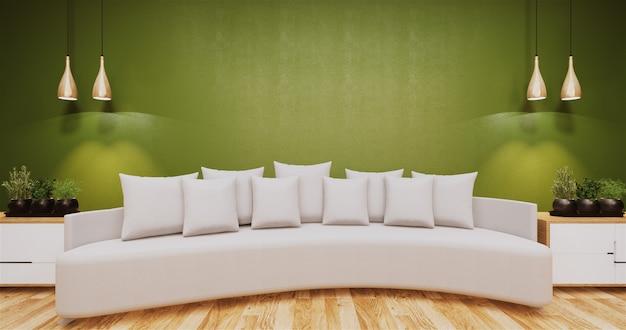 Wohnzimmer mit grüner wand