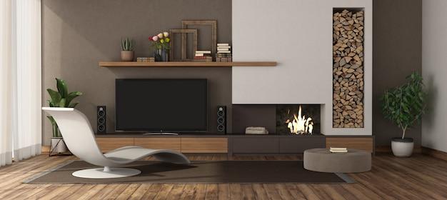 Wohnzimmer mit kamin chaiselongue und fernseher