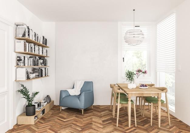 Wohnzimmer mit leerer leerer wand, grafikhintergrund, innen
