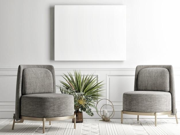 Wohnzimmer mit modellplakat an der hintergrundwand, graues bequemes sofa, ein sessel im skandinavischen stil, 3d rendern, 3d illustration