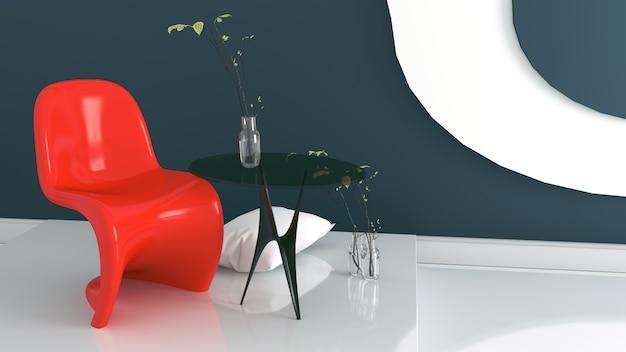 Wohnzimmer mit rotem lehnsessel und vase auf dunkelblauem und weißem wandhintergrund
