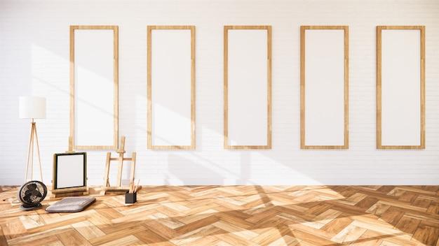 Wohnzimmer mit weißer wand und leeren rahmen