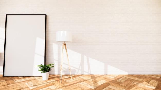 Wohnzimmer mit weißer wand und weißem rahmen
