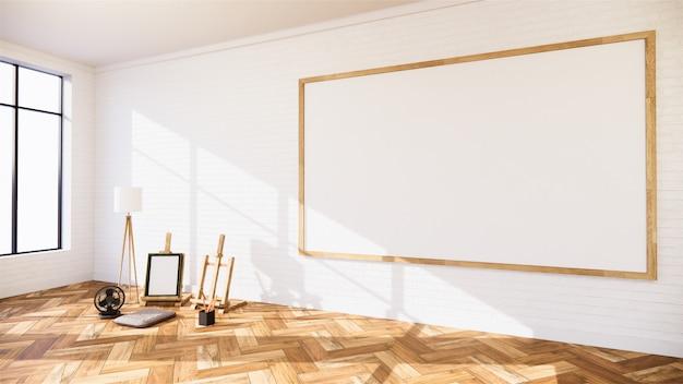 Wohnzimmer mit weißer wand und whiteboard