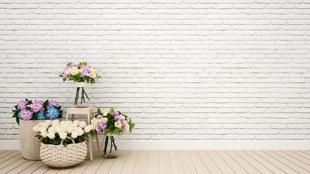 Wohnzimmer oder andere raumdekorationsblume - wiedergabe 3d