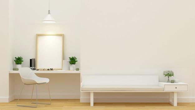 Wohnzimmer und arbeitsbereich - 3d-rendering