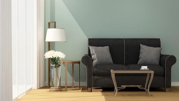 Wohnzimmer und balkon am sonnentag im hotel oder apartment -