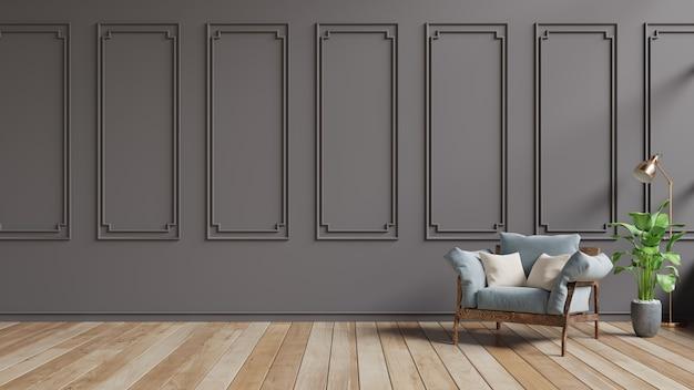 Wohnzimmerinnenraum mit blauem samtlehnsessel auf dunkelbrauner wand.