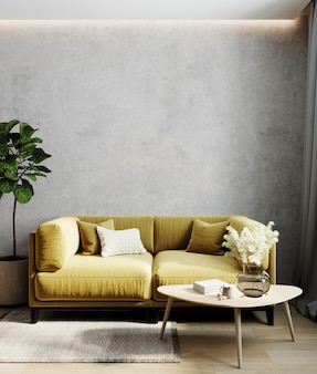 Wohnzimmerinnenraum mit gelbem sofa, wohnzimmerinnenraummodell, skandinavischer stil, 3d-rendering