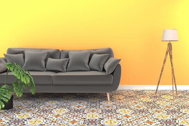 Wohnzimmerinnenraum mit klassischem bodenhintergrund der fliese auf gelbem wandhintergrund