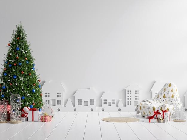 Wohnzimmerinnenraum mit lehnsessel und verziertem weihnachtsbaum auf leerem weißem hintergrund. wiedergabe 3d