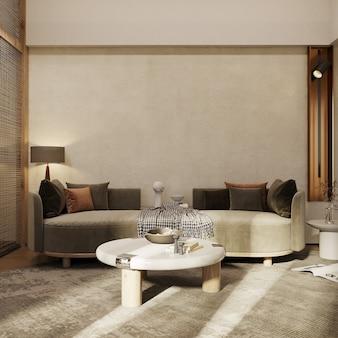 Wohnzimmerinnenraum mit möbeln 3d übertragen