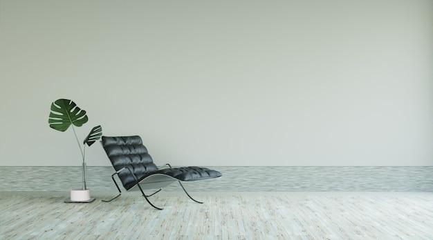 Wohnzimmerinnenraum mit schwarzem lederarmcjair und pflanzen, kopierraum, 3d-rendering
