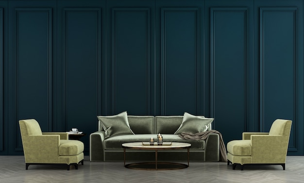 Wohnzimmerinnenraum und grünes sofa und blauer wandmusterhintergrund