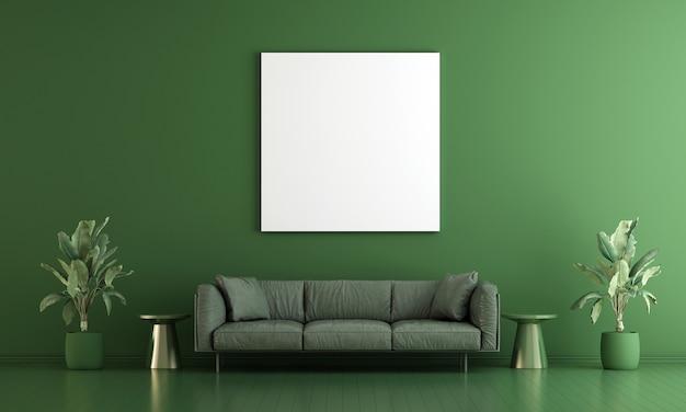 Wohnzimmerinnenraum und leerer leinwandrahmen auf grünem wandmusterhintergrund