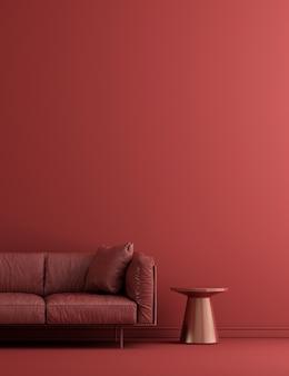 Wohnzimmerinnenraum und roter wandmusterhintergrund