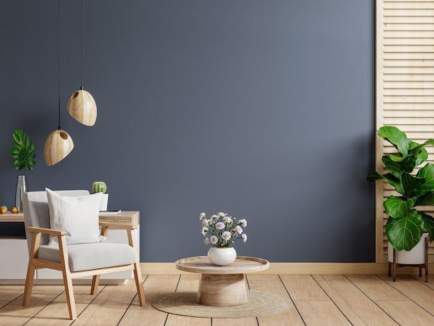 Wohnzimmerinnenraumwand in dunklen tönen, grauer sessel mit holzschrank. 3d-rendering