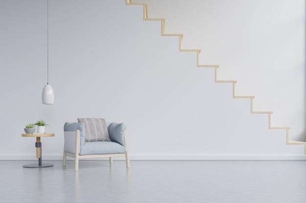 Wohnzimmerinnenwandmodell mit hellblauem lehnsessel auf wand mit treppe.