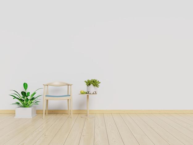 Wohnzimmerinnenwandspott oben mit lehnsessel und weißem wandhintergrund. 3d-rendering.