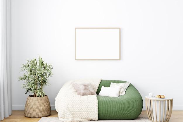 Wohnzimmerrahmenmodell im stil von boho und grünem sofa