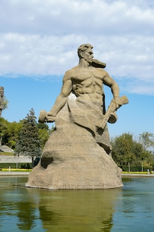 Wolgograd, russland: historischer komplex und gedenkstätte das denkmal mit dem namen stand to death