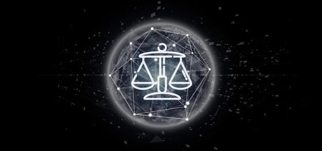 Wolke ofjustice und gesetzesikone sprudeln mit wiedergabe der daten 3d
