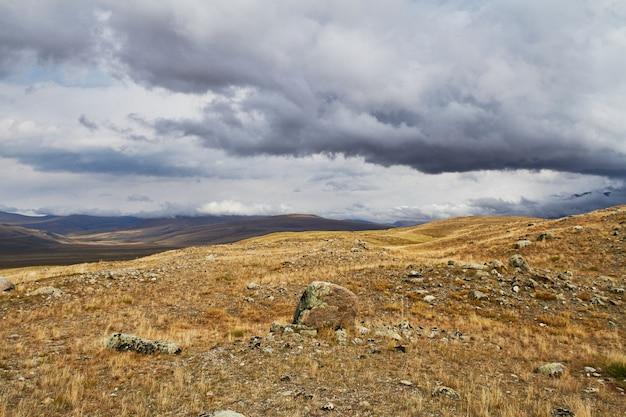 Wolken über den steppenwiesen, gewitterwolken über den hügeln. die ukok-hochebene im altai
