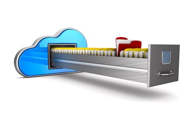 Wolken- und aktenschrank. isoliertes 3d-rendering