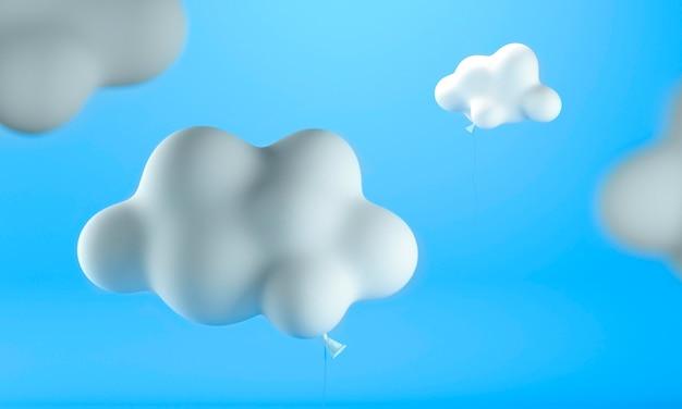 Wolkenförmige luftballons mit blauem hintergrund