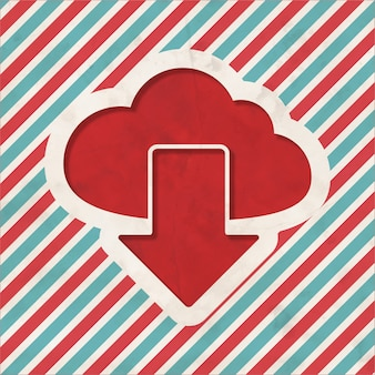 Wolkenkonzept auf rotem und blau gestreiftem hintergrund. weinlesekonzept im flachen design.