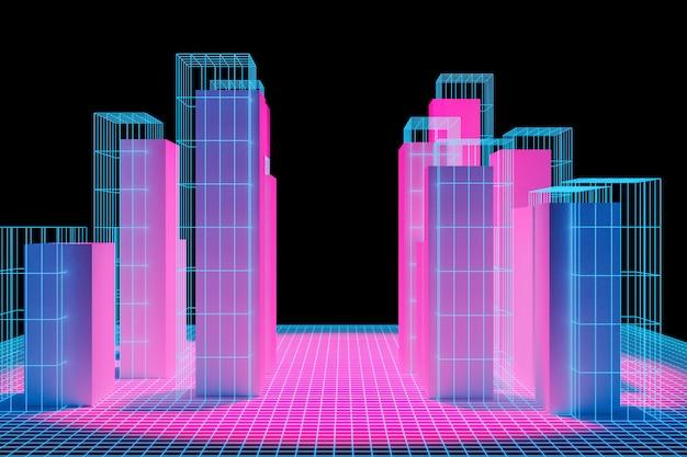 Wolkenkratzer im geschäftsviertel der innenstadt. abstrakte generische rosa-blaue stadt mit moderner bürogebäudeillustration