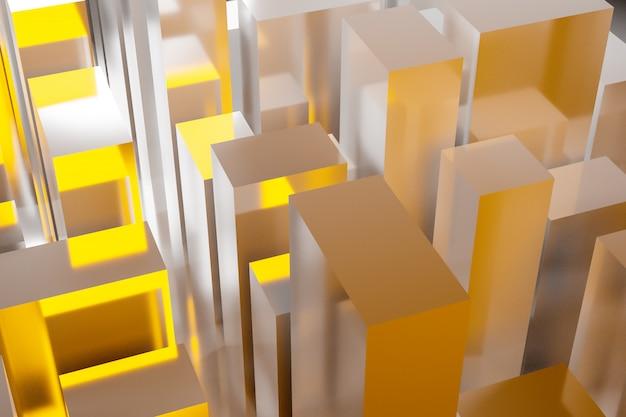 Wolkenkratzer im geschäftsviertel der innenstadt. quadratische formen zusammensetzung geometrisch. abstrakte generische gelbe stadt mit moderner bürogebäudeillustration