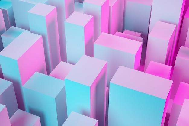 Wolkenkratzer im geschäftsviertel der innenstadt. quadratische formen zusammensetzung geometrisch. abstrakte generische rosa-blaue stadt mit moderner bürogebäudeillustration