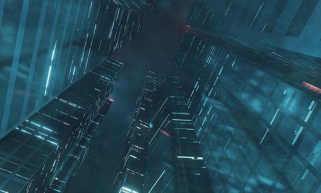 Wolkenkratzergebäude in mega-sci-fi-stadt. nebel und neblige umgebung.