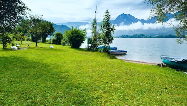 Wolkiger see see wolfgangsee (österreich) und zwei schwäne am ufer.