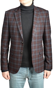 Wollmänneranzugjacke in die zelle in kombination mit jeans, isoliertes bild auf weißem hintergrund.