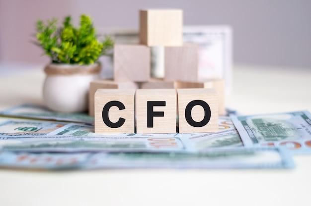 Word cfo ist auf holzwürfeln geschrieben, die in einer pyramide angeordnet sind. die würfel befinden sich auf den auf dem tisch liegenden banknoten. im hintergrund eine grüne pflanze in einem topf. cfo - abkürzung für chief financial officer.