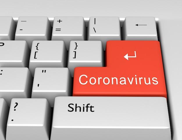 Word coronavirus ist auf einem computerschlüssel enter geschrieben