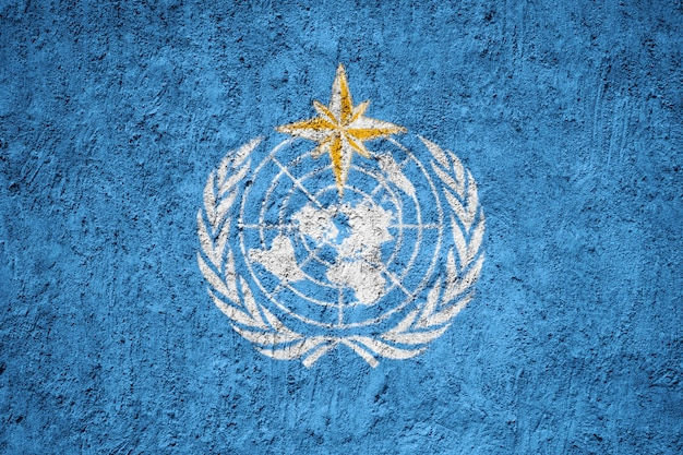 World meteorological organization flagge auf grunge wand gemalt