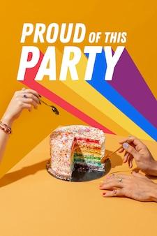World pride day party komposition mit nachricht