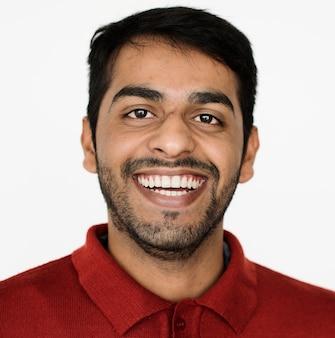 Worldface-pakistanischer kerl in einem weißen hintergrund
