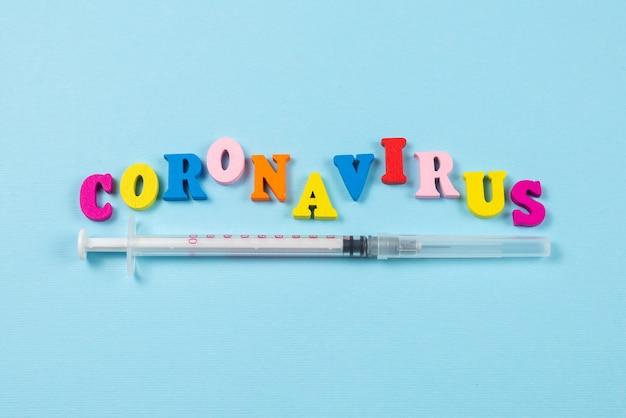 Wort coronavirus geschrieben auf blaue wand